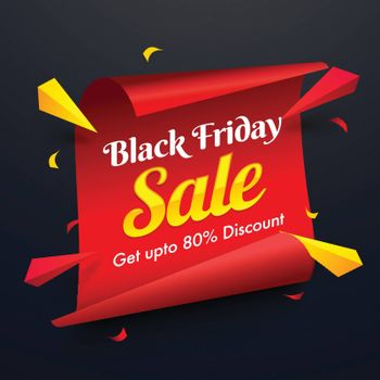 Scroll paper style template or poster design with 80% discount offer and abstract elements for Black Friday Sale.