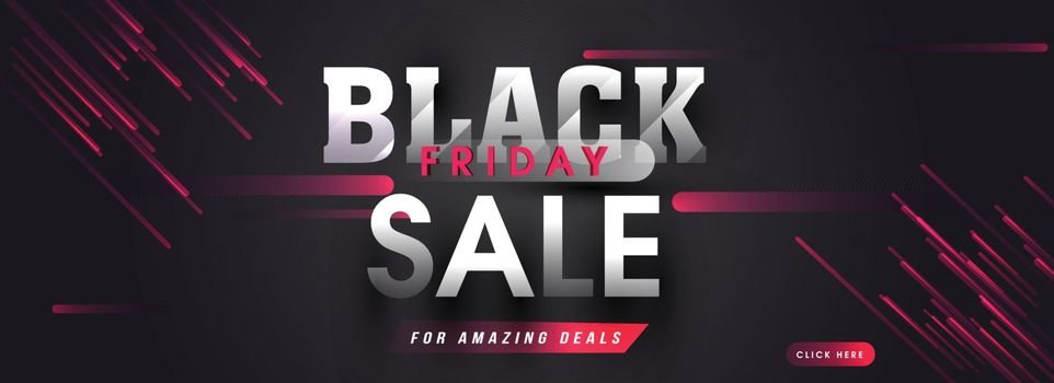 Black Friday Sale with amazing deals and offers, advertising header or banner design with abstract elements.