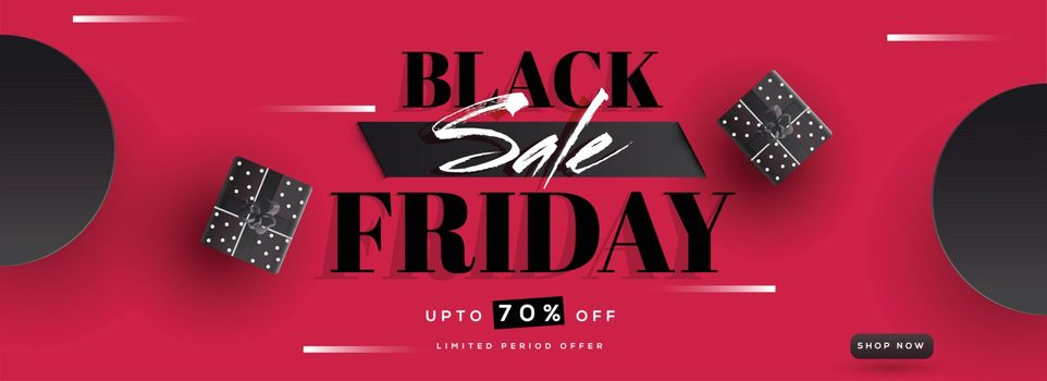 Top view of  Black Friday Sale banner with 70% discount offer and gift boxes on red background, Advertising banner or header design.