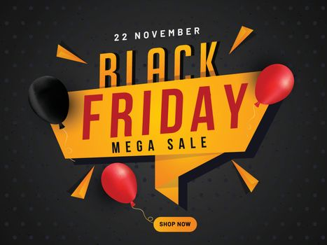 Mega Sale tag or ribbon with balloons on black background. Advertising poster or banner design for Black Friday.