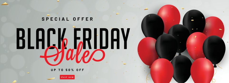 Website header or banner design with red and black balloons and 50% discount offer for Black Friday sale.