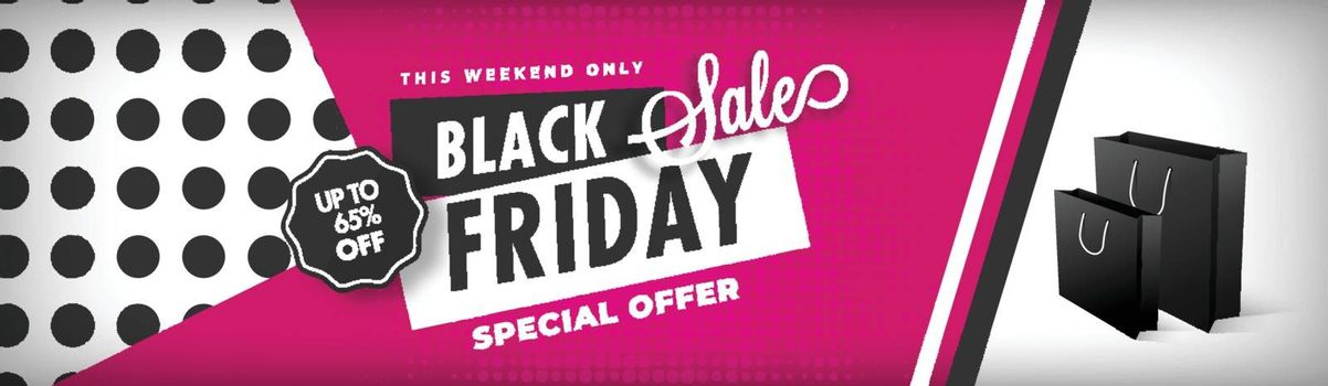 Creative website header or banner design with 65% discount offer for Weekend Black Friday Sale.