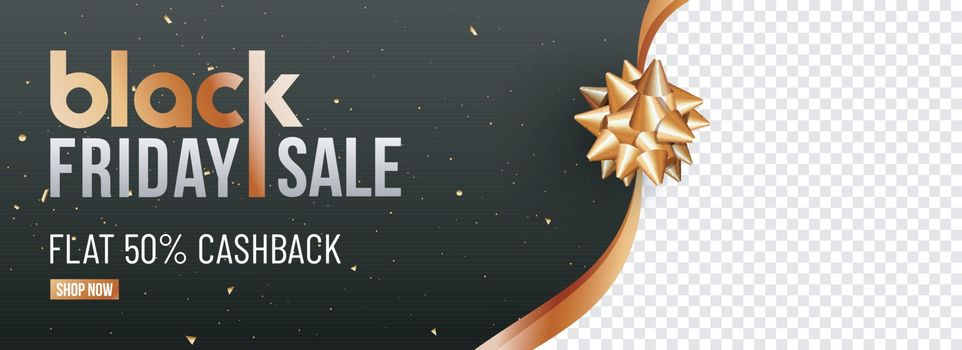 Black Friday Sale website header or banner design with 50% discount offer and space for your product image.
