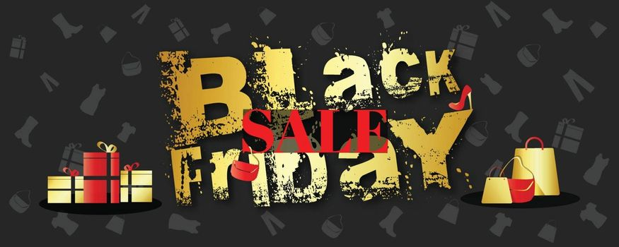 Website header or banner design with creative lettering of Black friday and gift boxes on black background.