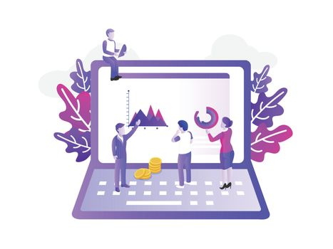Modern flat design with a group of miniature business people ana