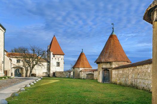 Master Gunsmith's Tower in Burghausen Castle courtyard, Germany