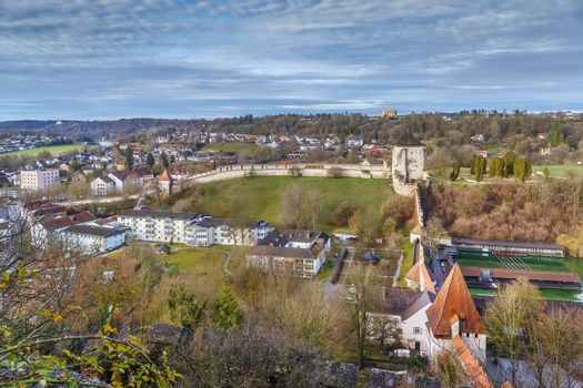 View of wall and tower from Burghausen castle, Germany