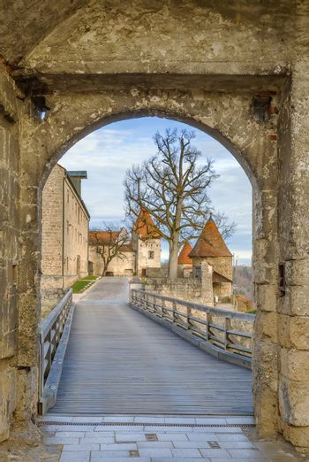 View of the fortress through the Georg gate, Burghausen, Germany
