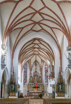 St. Jakob Parish Church in Burghausen, Upper Bavaria, Germany. Interior
