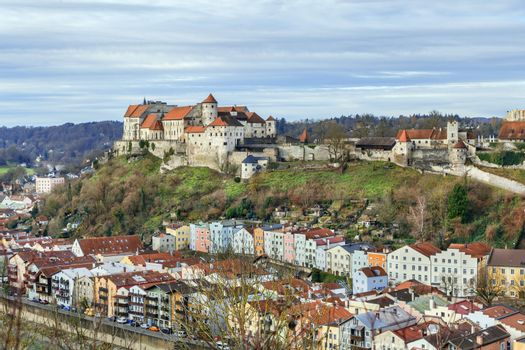 Burghausen Castle on the hill in Burghausen, Germany. View from the hill across Salzach river