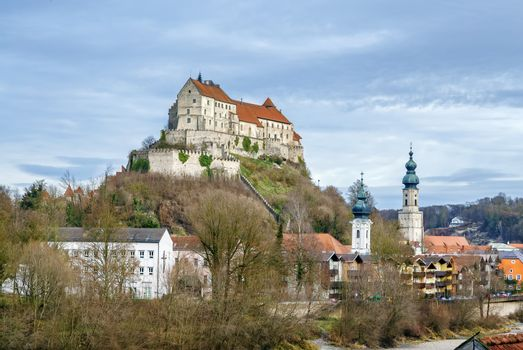 Burghausen Castle on the hill in Burghausen, Germany