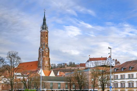 View of St. Martin Church and Trausnitz Castle in Landshut, Germany