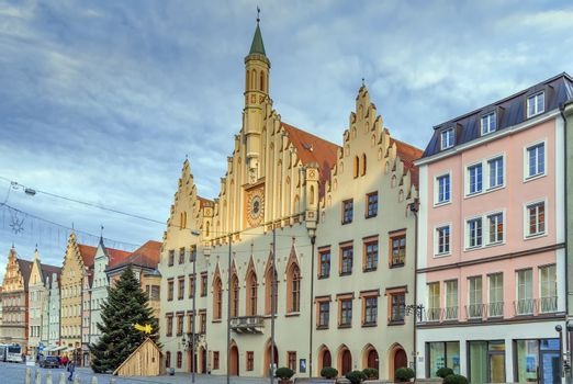 Historical houses and town hall on Altstadt street in Landshut, Germany