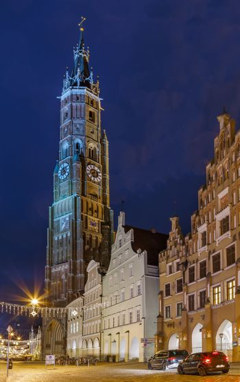 View of St. Martin Church in Landshut downtown in evening, Germany