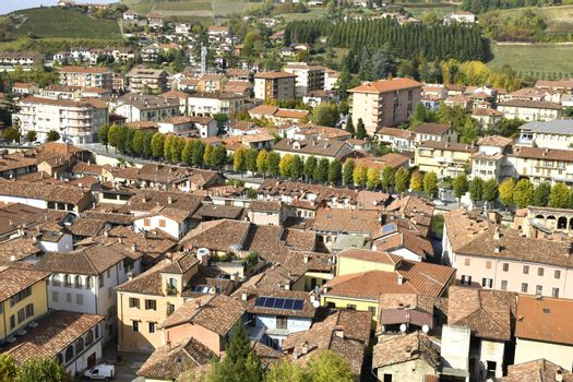 A view of Dogliani from a terrace, famous for Dolcetto wine