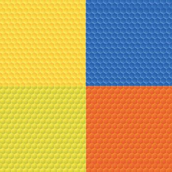 Set of four colorful abstract seamless backgrounds with hexagonal geometric elements.