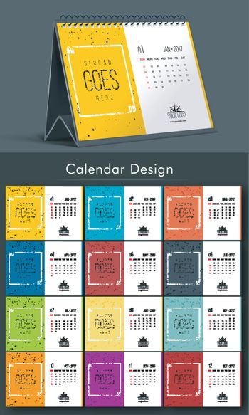Colorful Yearly Calendar design.