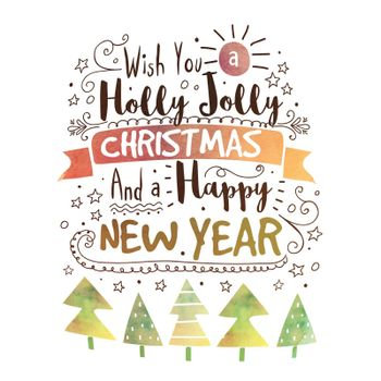 Creative handwritten lettering design with typographic background for Holly Jolly for Merry Christmas and Happy New Year  celebration.