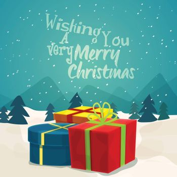 Colorful gift boxes on winter background for Merry Christmas celebration.
