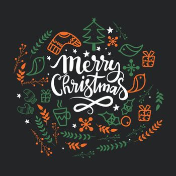 Creative background with various ornaments for Merry Christmas celebration.