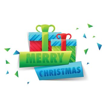 Colorful gift boxes with paper banners for Merry Christmas celebration.