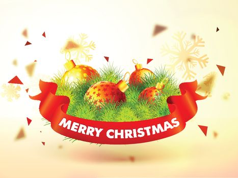 Merry Christmas celebration background decorated with glossy balls, fir branches and snowflakes.