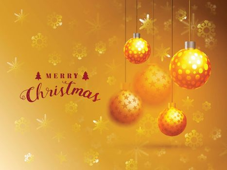 Glossy hanging Balls and Snowflakes decorated holiday background, Elegant Greeting Card design for Merry Christmas celebration.