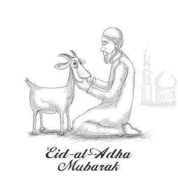 Black and white sketch for Eid-Al-Adha Mubarak.