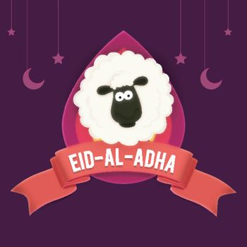 Eid-Al-Adha poster, banner with sheep.