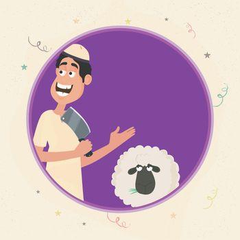 Islamic Man with Sheep for Eid-Al-Adha celebration.