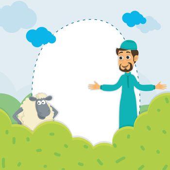Eid-Al-Adha background with Islamic Man and Sheep.