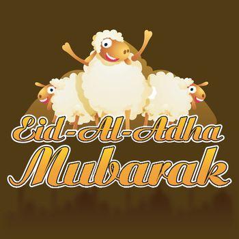Eid-Al-Adha Mubarak background with cute sheep.