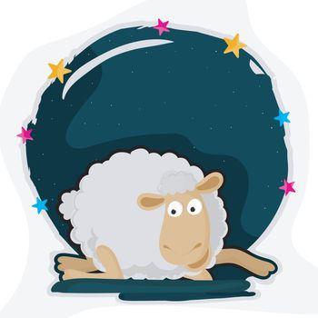 Cartoon sheep for Eid-Al-Adha celebration.