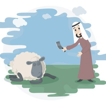 Eid-Al-Adha concept with arabian man and sheep.