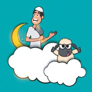 Eid-Al-Adha background with sheep.