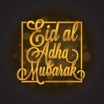 Golden Eid-Al-Adha Mubarak text in square frame.