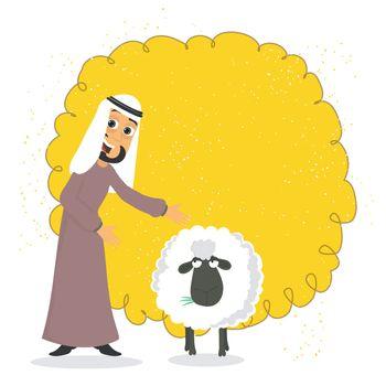 Arabian Man with Sheep for Eid-Al-Adha celebration.