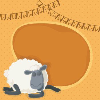 Eid-Al-Adha celebration background with sheep.