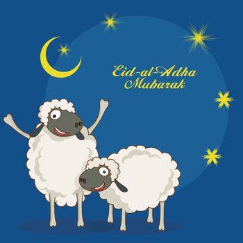 Eid-Al-Adha Mubarak poster, banner with smiling sheep.