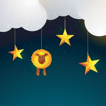 Eid-Al-Adha background with golden sheep and stars.