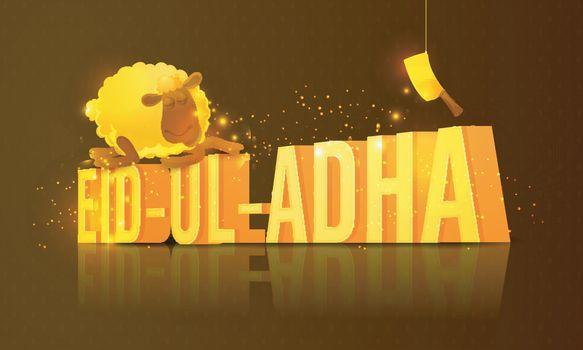 3D Golden Text Eid-Al-Adha with sheep.