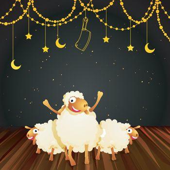 Cheerful sheep for Eid-Al-Adha Festival.