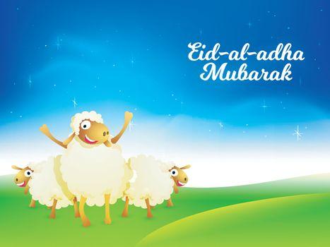 Eid-Al-Adha Mubarak background with sheep.