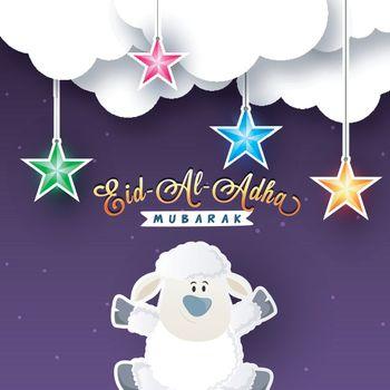 Eid-Al-Adha Mubarak poster, banner with cute sheep.