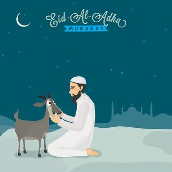 Isamic Man with goat for Eid-Al-Adha Mubarak.