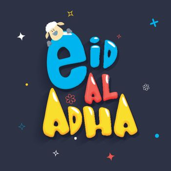 Colorful text Eid-Al-Adha with cute sheep.