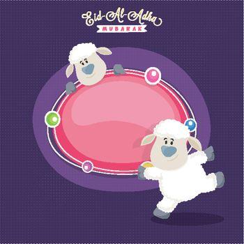 Eid-Al-Adha Mubarak banner with cute sheep.