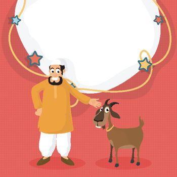 Islamic Man with Goat for Eid-Al-Adha celebration.