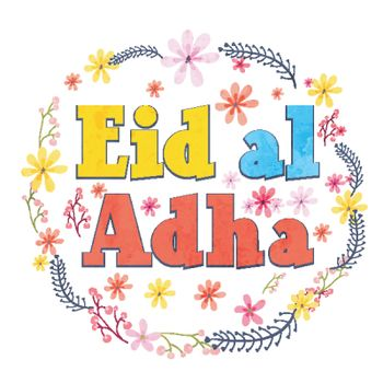 Colorful Eid-Al-Adha text with flowers decoration.