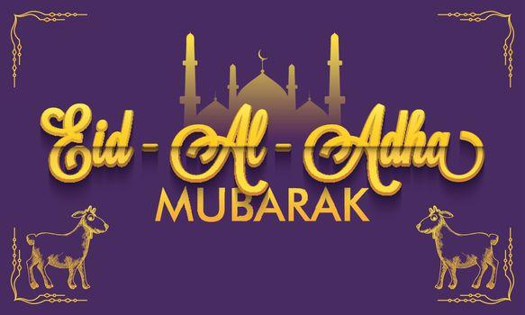Creative Eid-Al-Adha Mubarak text with mosque and goats.